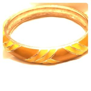 J Crew Cloisonné lacquer yellow gold bangle